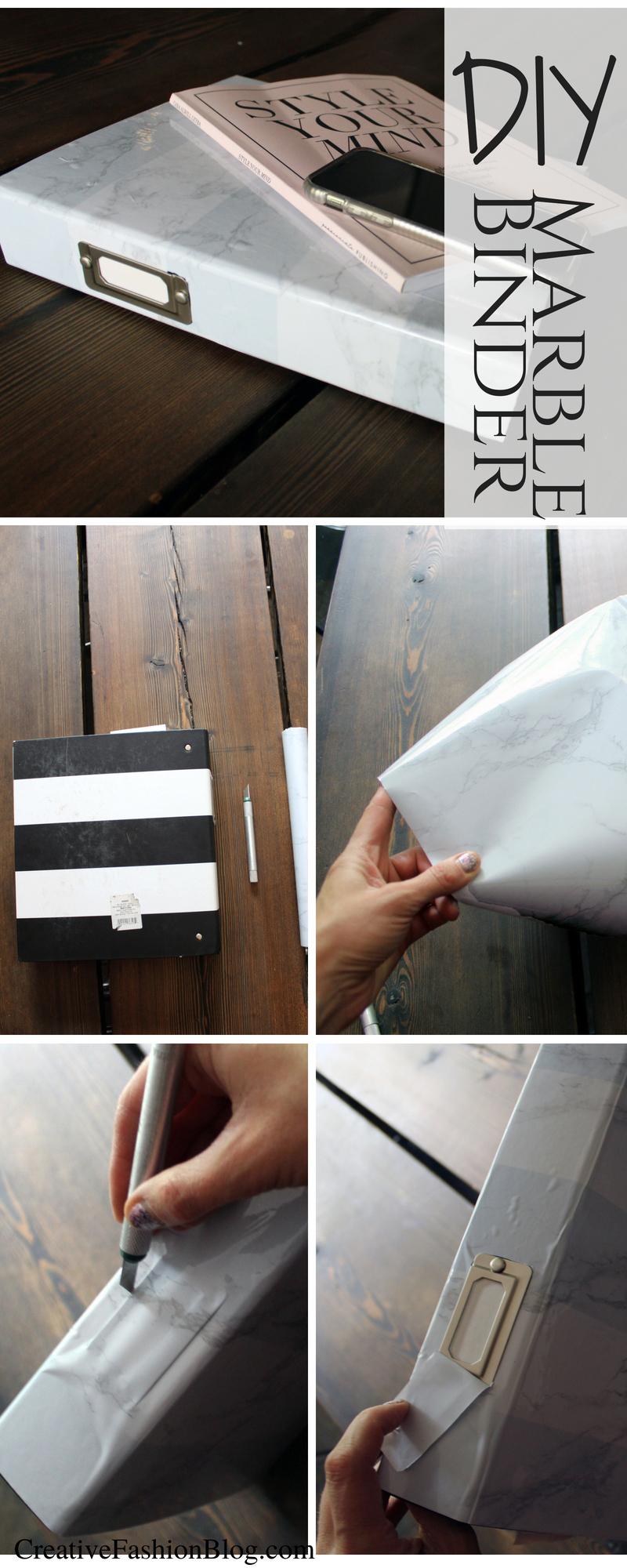 Marble binder DIY craft project .