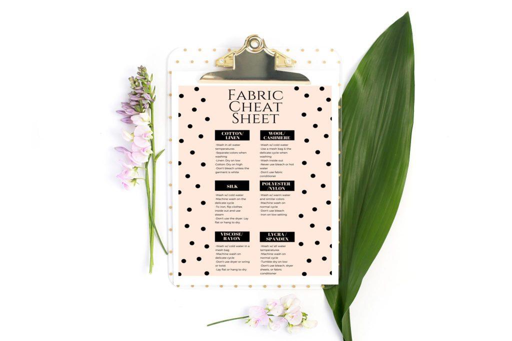 Printable fabric cheat sheet