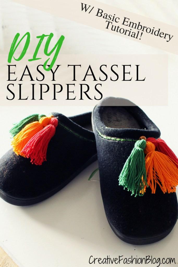 Easy DIY Slippers Tutorial with DIY Boho Tassels