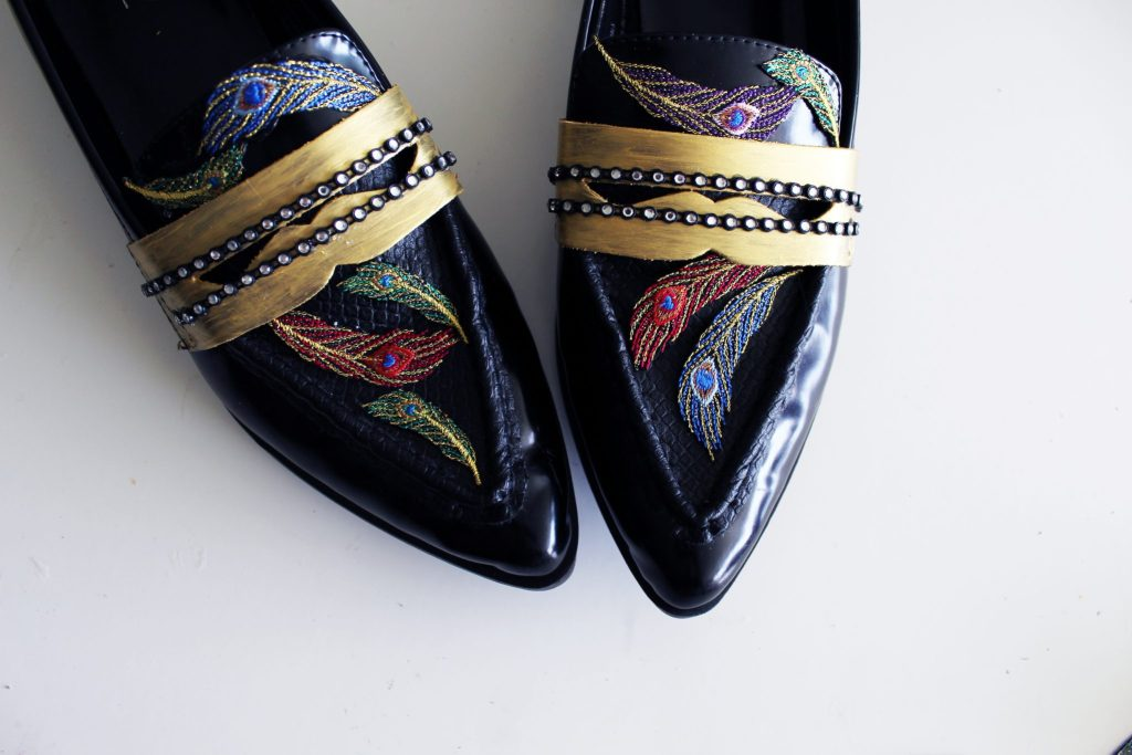 recycled clothing Refashion loafers to make these glam Gucci Inspired shoes