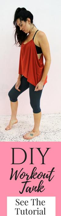 diy workout shirt tutorial lulu lemon knockoff bra refashion..