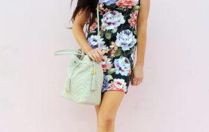 how to make a DIY Floral Scuba Dress..