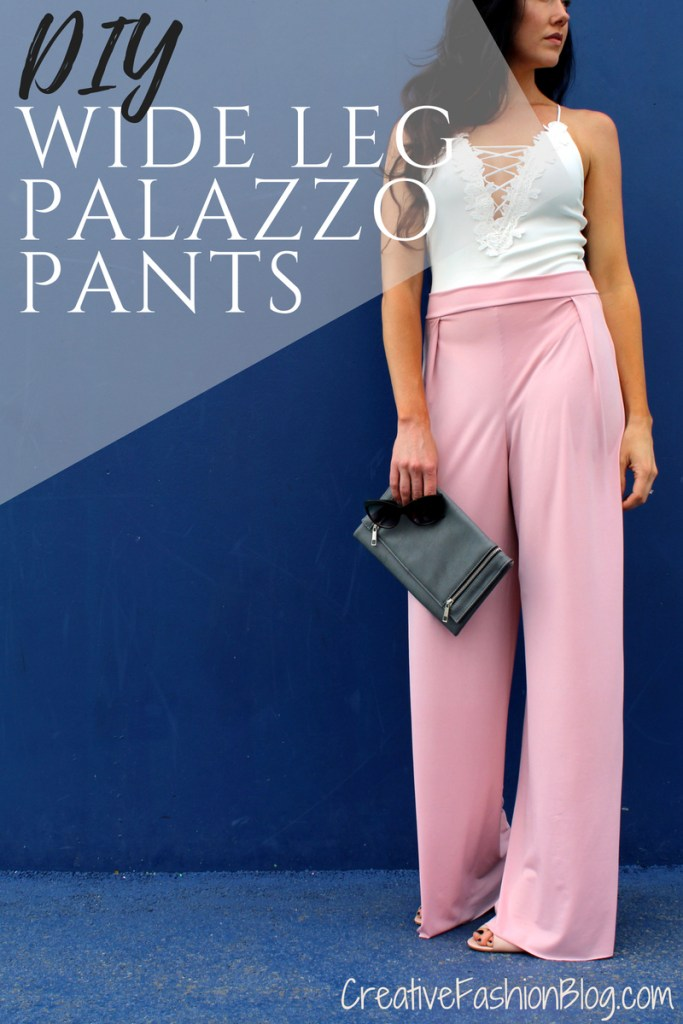 how to make easy DIY high waist wide leg palazzo pants ...