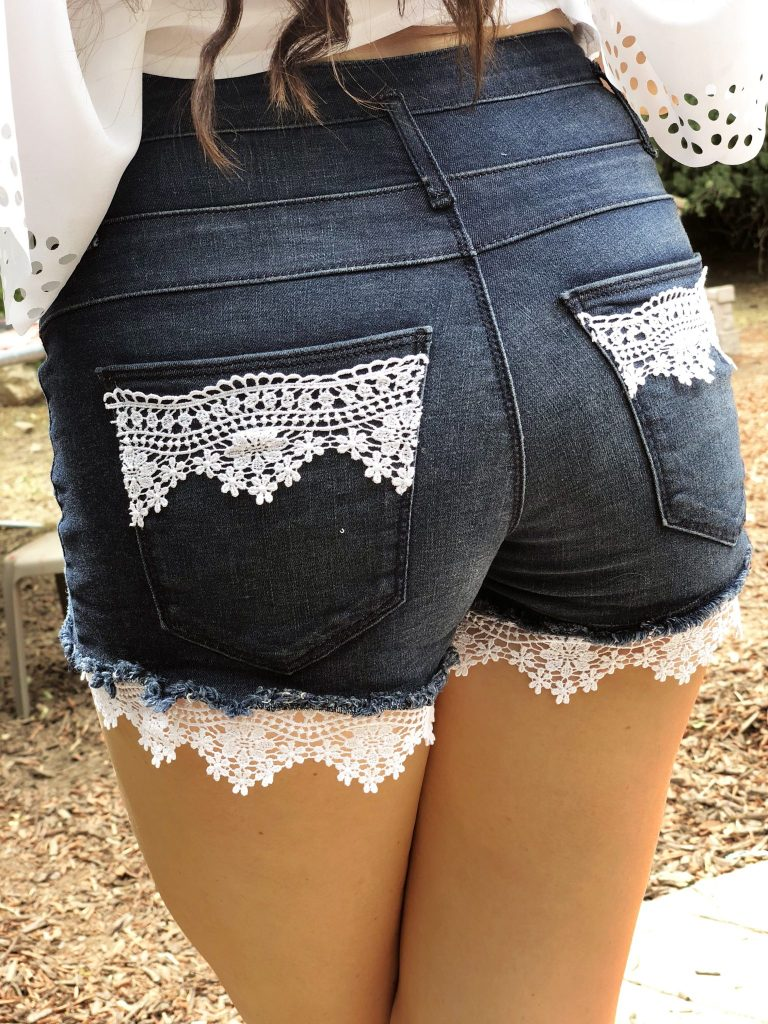 DIY Summer Shorts Refashion with Lace Detail . An easy clothing makeover