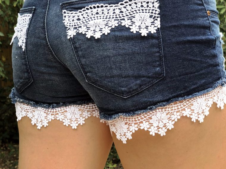 DIY Summer Shorts Refashion with Lace Detail .