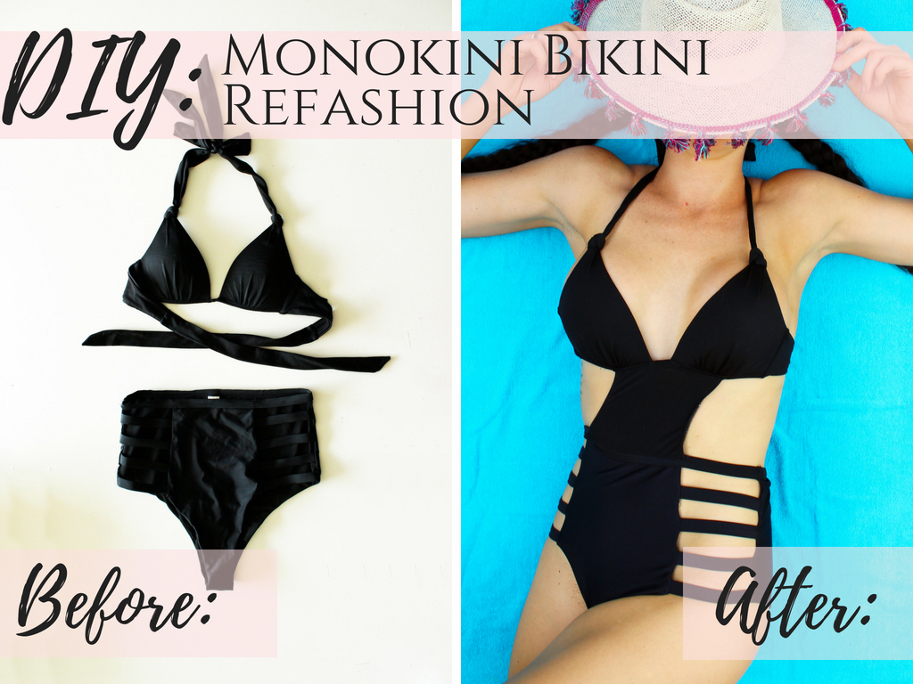 Full tutorial How to make DIY monokini swimsuits!! This black one piece is a refashion from an old bikini set.