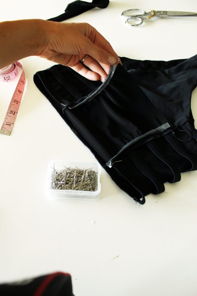 How to make DIY monokini swimsuits! This super simple black one piece is a refashion from an old bikini
