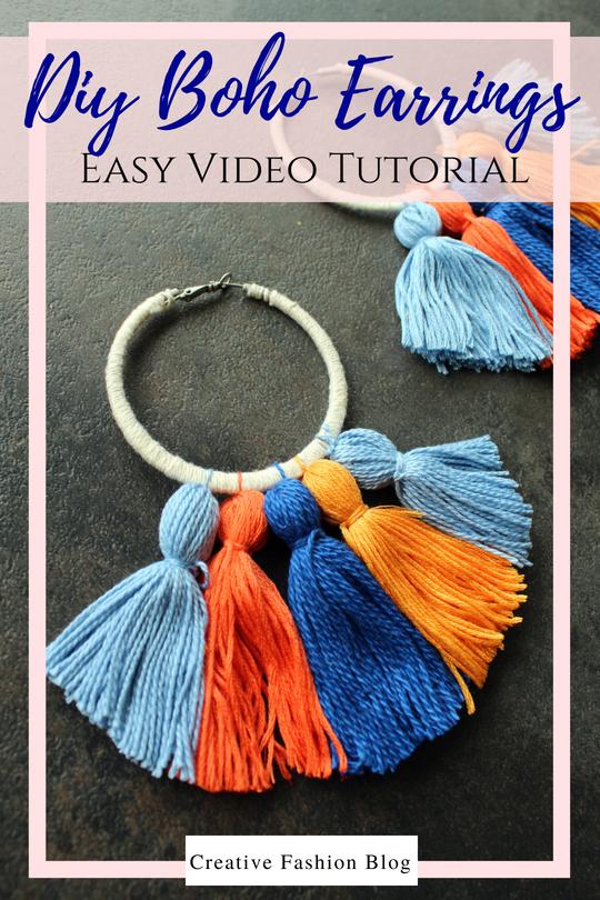 How to make Easy DIY boho tassel earrings with hoops tutorial. Full Simple video tutorial.