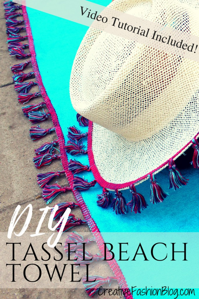 How to make a DIY beach towel with boho tassels. Easy sewing tutorials with video