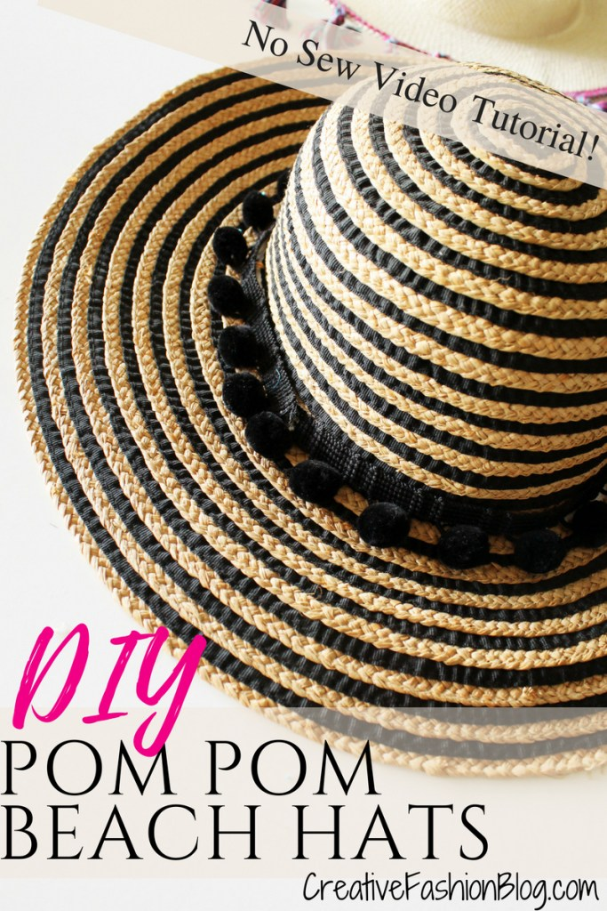 How to make a fun DIY summer hat for women . This is such an easy, pom pom, no-sew project!!