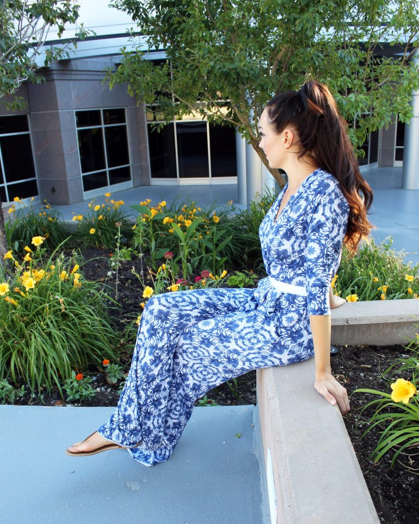 How to make a summer knit 70s jumpsuit with palazzo pants and wrap top