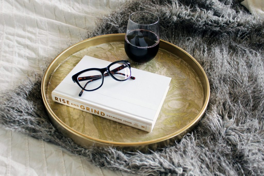 DIY Gold and Marble Tray With Marble Paper and glue from paper source