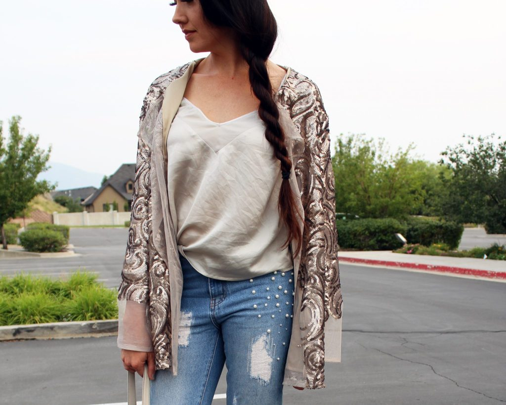 How to make a DIY Sequin Jacket Cardigan full tutorial and summer outfit ideas
