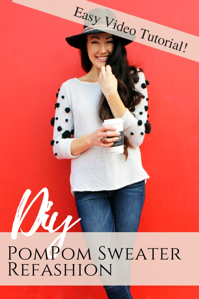 How to make a DIY pom pom sweater for fall . A fun and easy clothing refashion idea