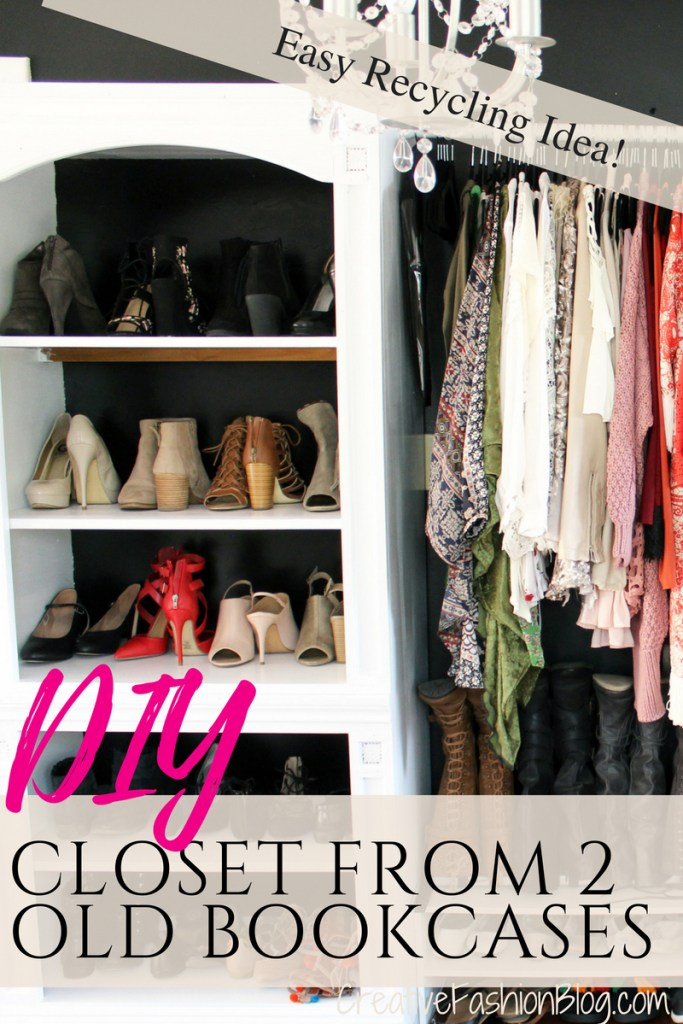 How to make a closet from an old bookcase. Click through for the easy full DIY tutorial..