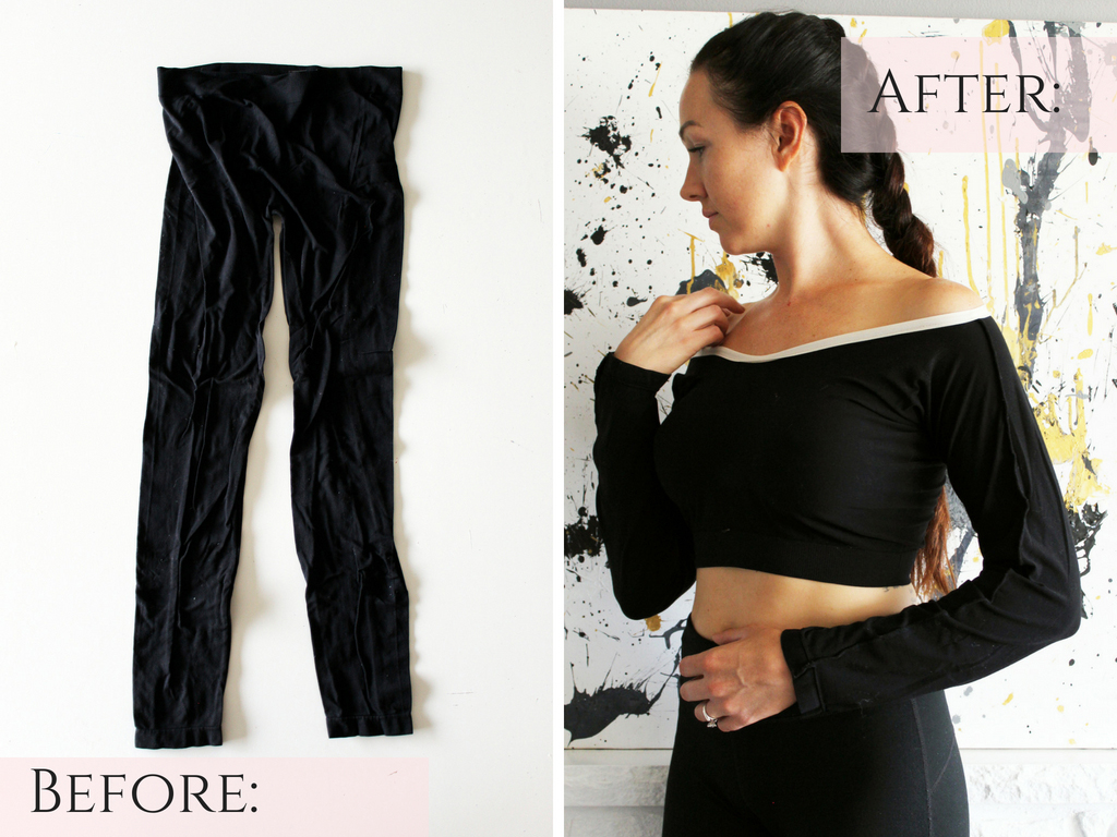 How to make a long sleeve crop top shirt from a pair of basic old leggings before and after. An easy clothing refashion