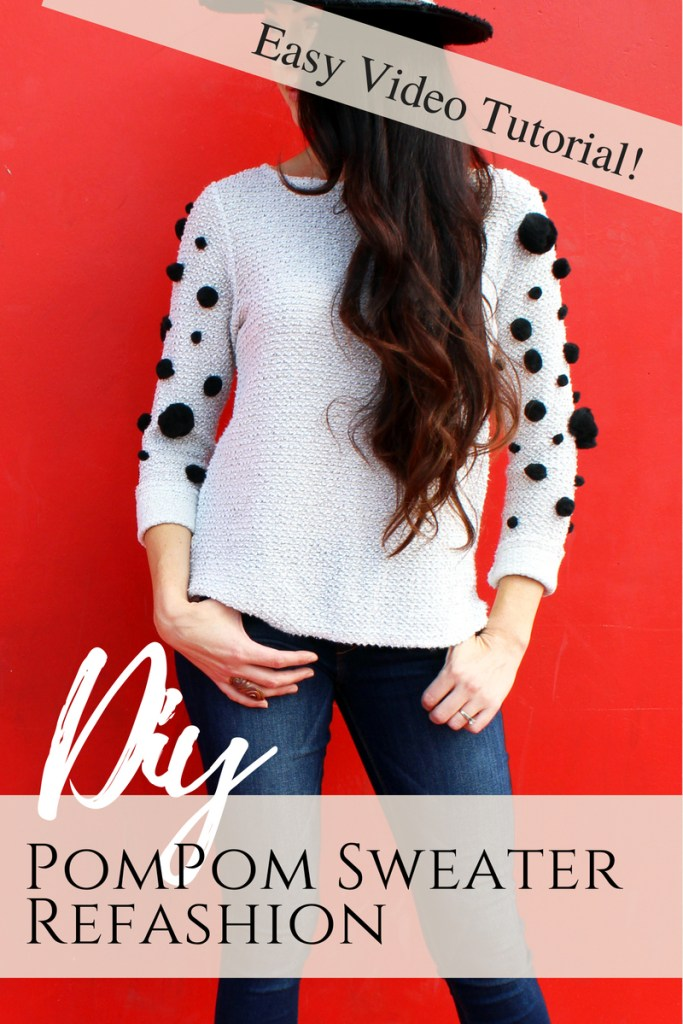 How to make a simple DIY pom pom sweater for fall . A fun and easy clothing refashion idea
