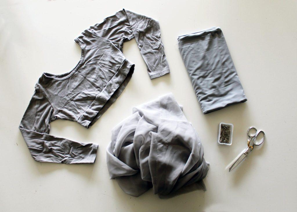 Supplies to make a chiffon babydoll t shirt dress refashion