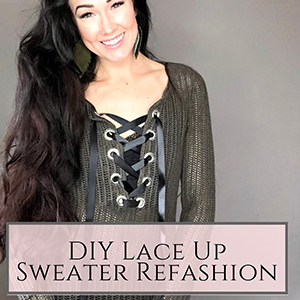 DIY Lace up sweater refashion