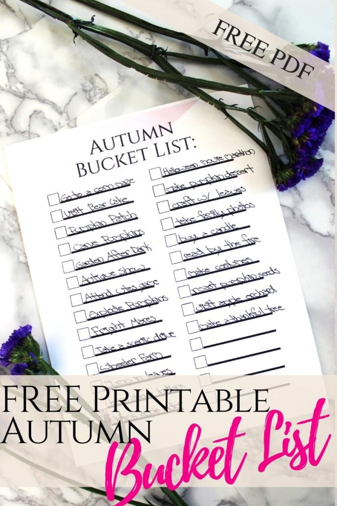 FREE Printable pdf Autumn Bucket List
