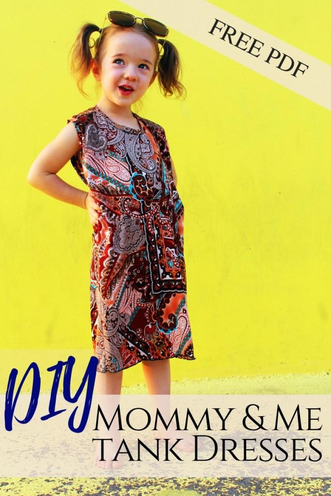 How to make DIY matching mommy and me fashion tee shirt dresses. free printable pdf