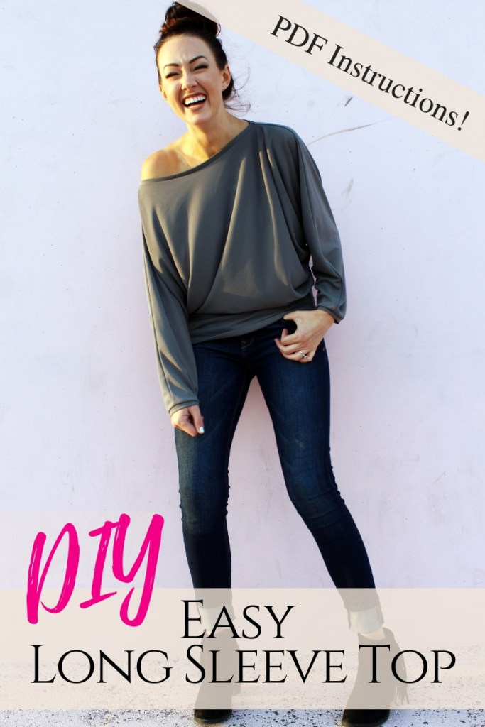 How to make an easy DIY long sleeve batwing sleeve shirt