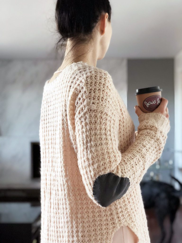 DIY Suede Patch to refashion your Chunky Sweaters this winter