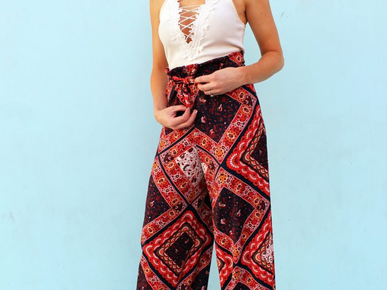DIY drawstring printed palazzo pants sewing tutorial .