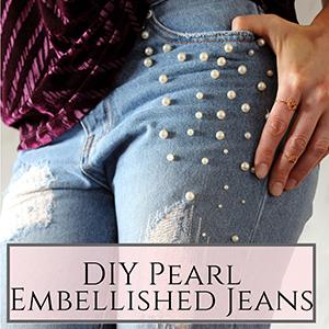 DIY pearl embellished jeans