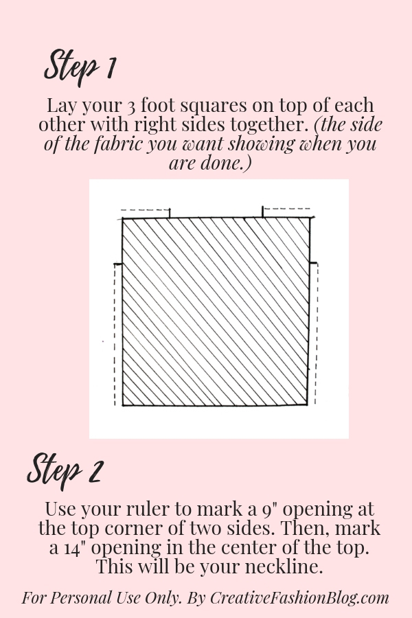 How to make a 3 step DIY draped square top printable pdf page 2. A great beginner sewing tutorial!