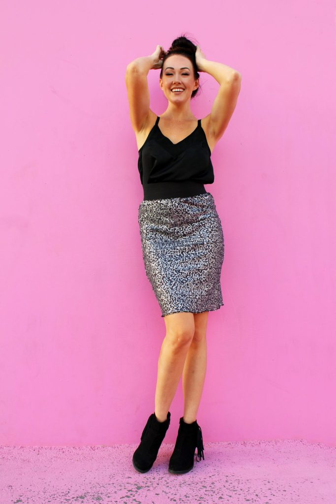 How to make an easy DIY sequin pencil skirt
