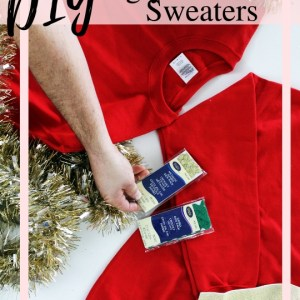 How to make a DIY ugly Christmas Sweater for couples from recycled tinsel