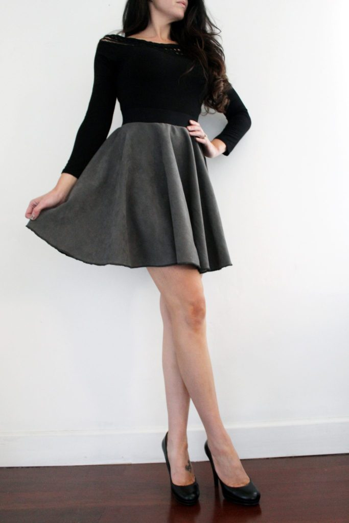 How to make a suede circle skirt . FREE pattern printable tutorial
