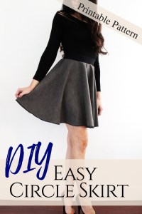 How to make an easy suede circle skirt . FREE pattern printable tutorial