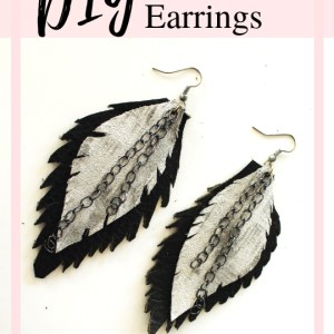 How to make easy feather leather earrings with this jewelry DIY