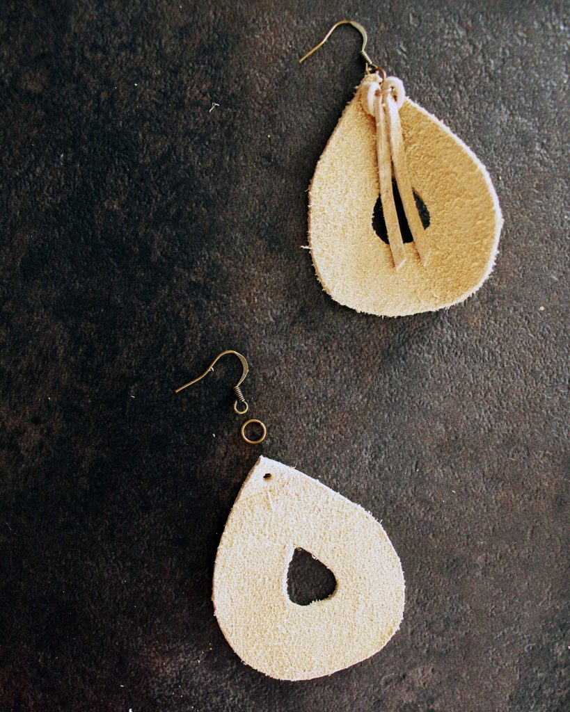 DIY leather teardrop earrings jewelry making tutorial