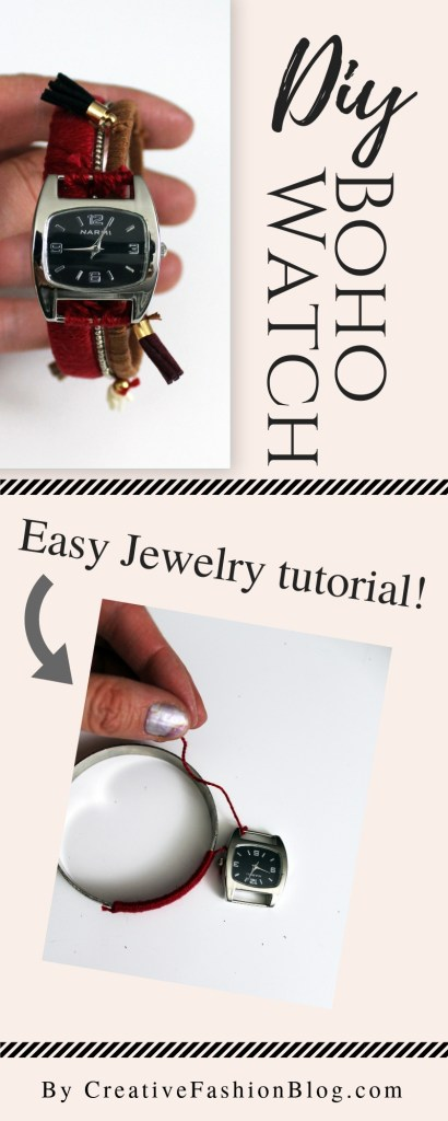 How to make a boho stacking bracelet watch . Bohemian tassle jewelry tutorial .