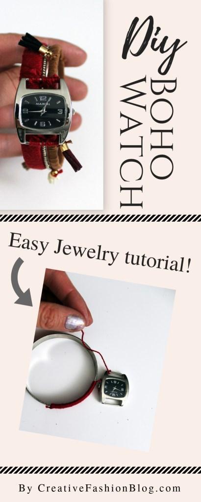 How to make a boho stacking bracelet watch . Bohemian tassle jewelry tutorial .