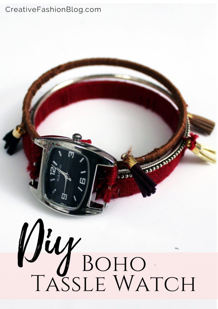 How to make a free people inspired boho stacking bracelet watch . Bohemian tassle jewelry tutorial .