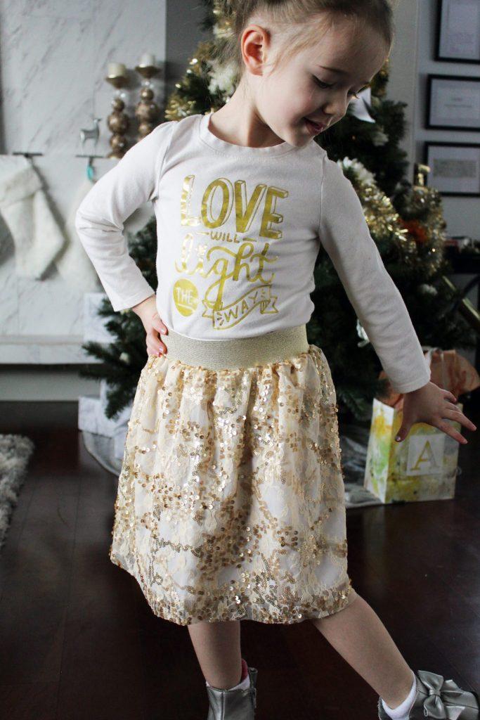 How to make a pull on elastic waistband sequin skirt for little girls