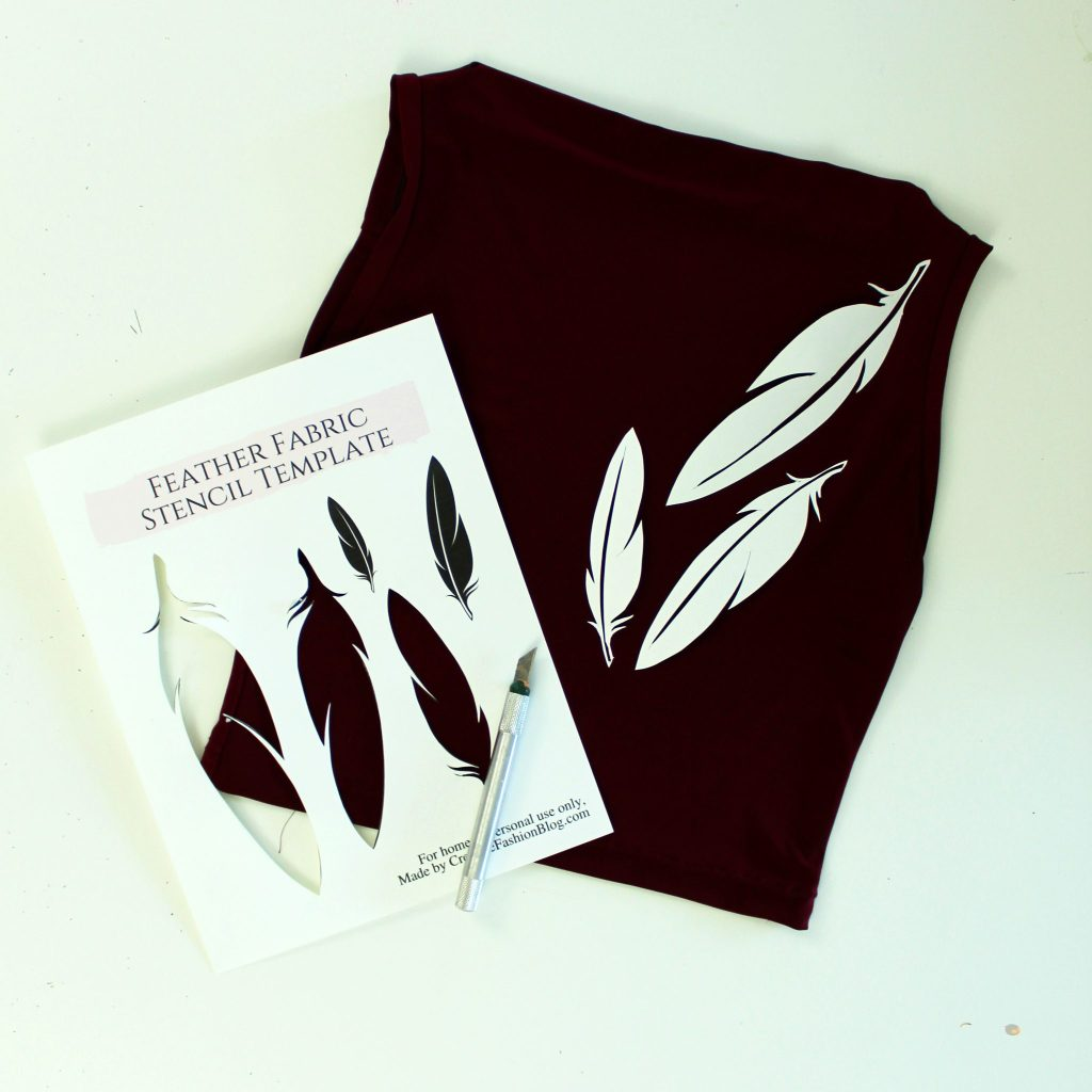 DIY Tshirt refashion with this FREE feather printable stencil