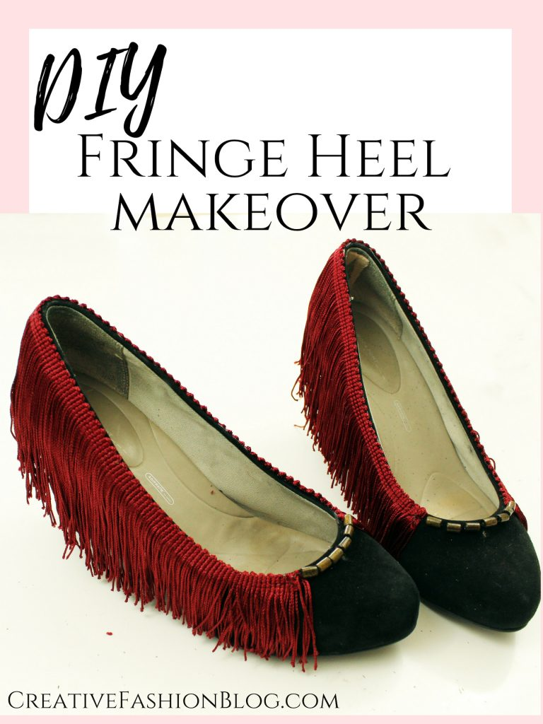 Easy DIY Fringe Heel makeoever. How to refashion your shoes with boho embellishments