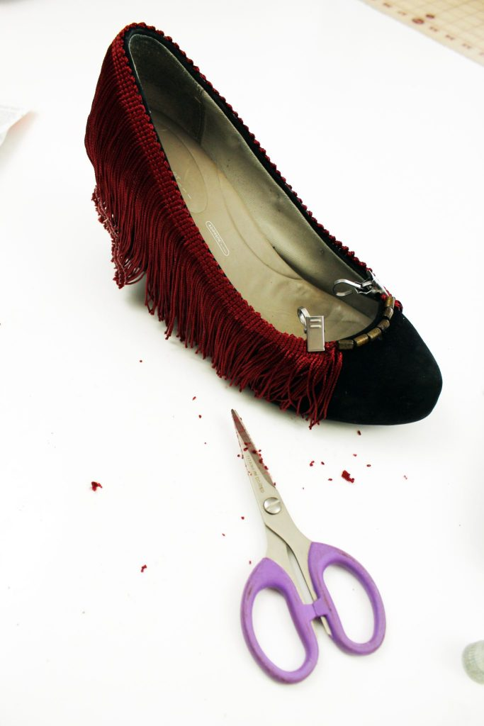Fringe High Heel makeoever. How to refashion your shoes with boho embellishments