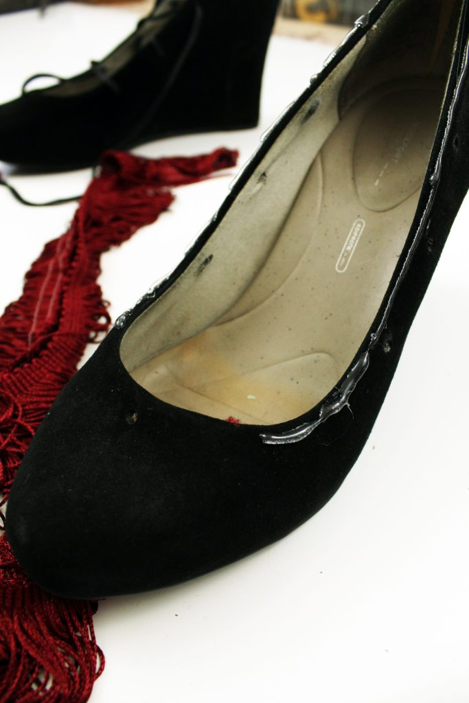 Fringe High Heel makeoever. How to refashion your shoes with boho embellishments..