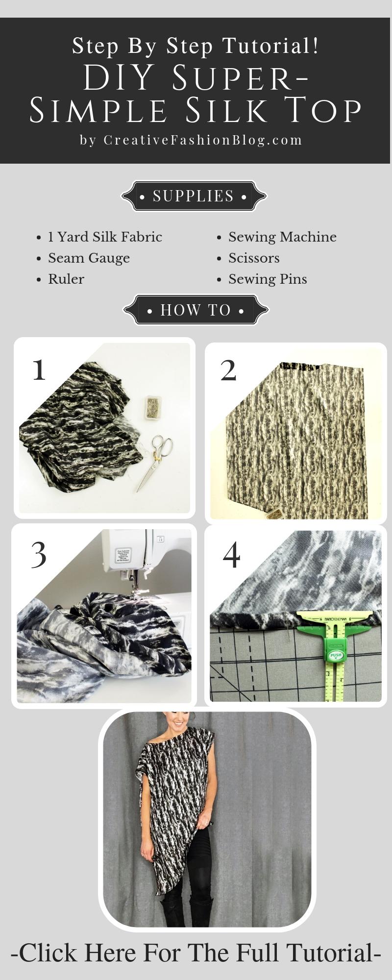 How to make a silk asymmetrical top.. DIY new pattern shirt easy beginner sewing tutorial