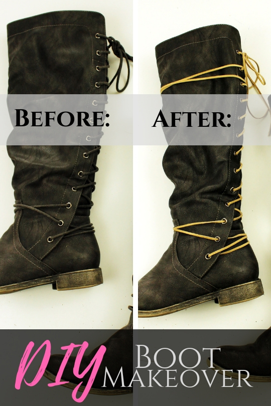 Refashion Your Leather Boots In Just Ten Minutes with Simple Suede Lace makeover!