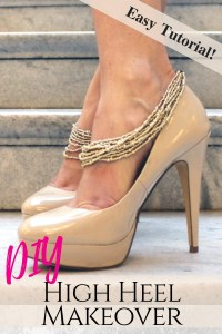 Makeover your heels with jewelry straps for a chic shoe refashion..