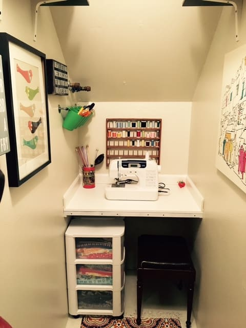 how to save space with sewing room storage