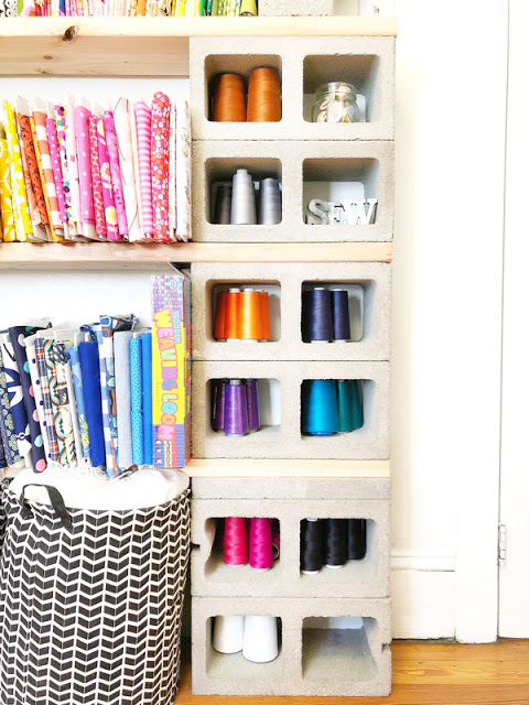 sewing room storage and decor