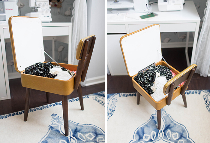 sewing room storage inside a chair